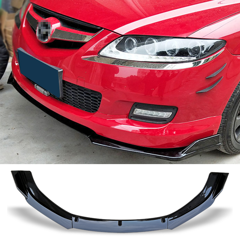 Front Bumper Spoiler Protector Plate Lip Body Kit Carbon Surface Car Decorative strip Chin Shovel For Mazda 6 M6 2006-2015