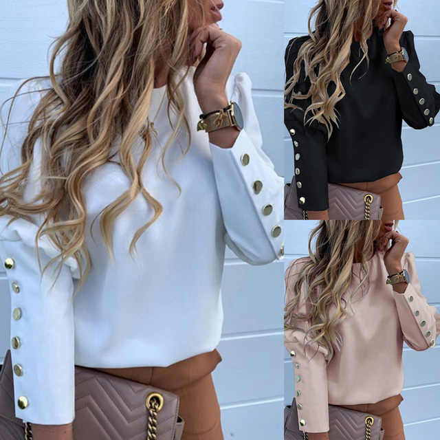 Work Wear Women Blouses Long Sleeve Back Metal Buttons Shirt Casual O Neck Printed Plus Size Tops Fall Blouse Drop Shipping 4