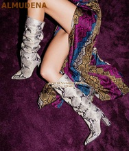 ALMUDENA White/Black Snakeskin High Boots Yellow Python Printed Long Knee Boots Sexy Nightclub Dress Boots Gladiator Shoes Pumps