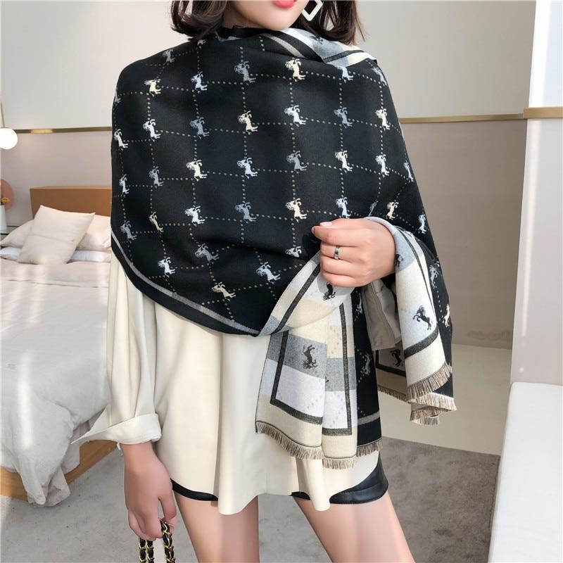 Brand 2019 Winter Scarf Horse Cashmere Pashmina Women Scarfs Warm Thick Shawl Hijab Poncho For Ladies Scarves Foulard Femme