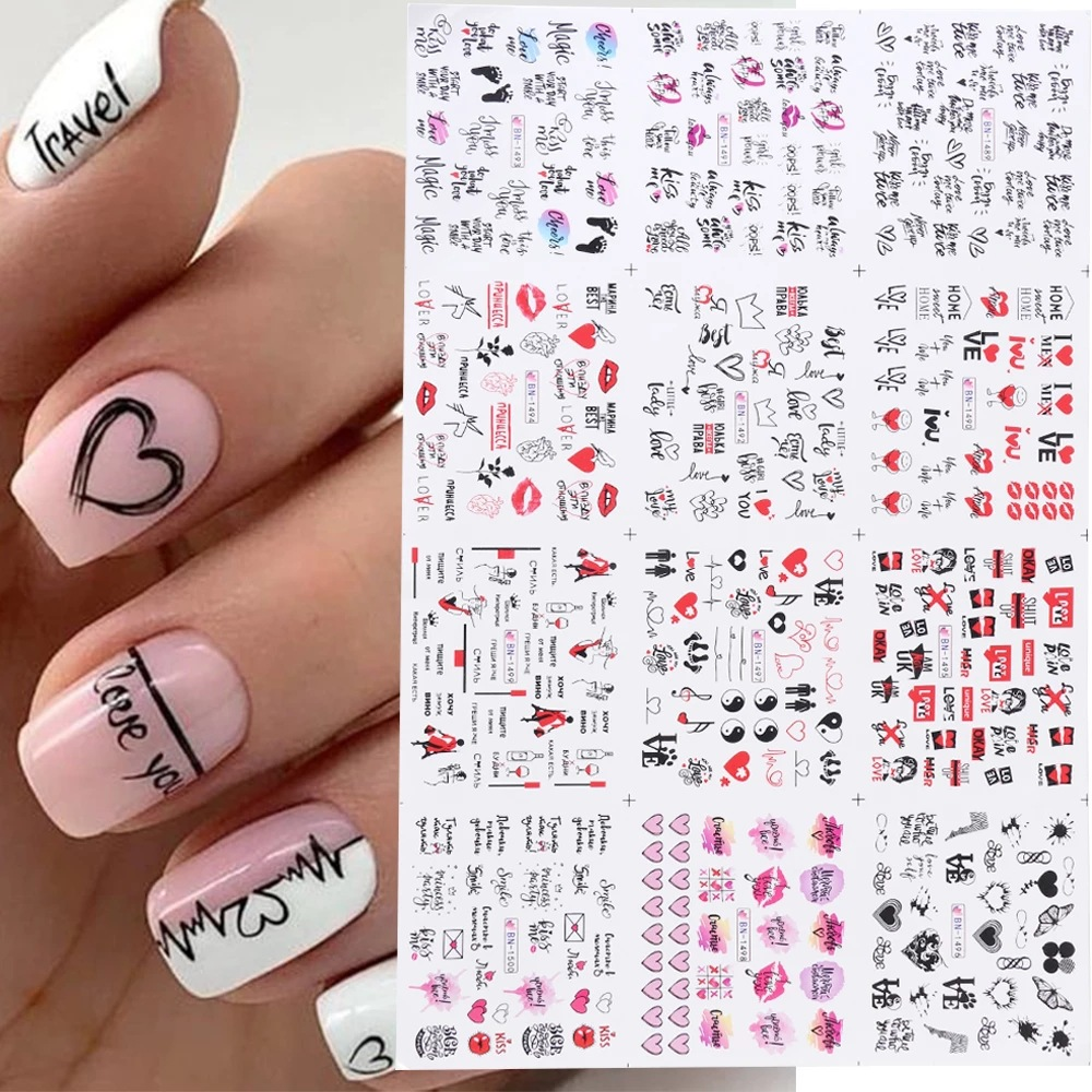 Nail-Water-Stickers Print European And American Love Lip 12pcs Valentine's-Day