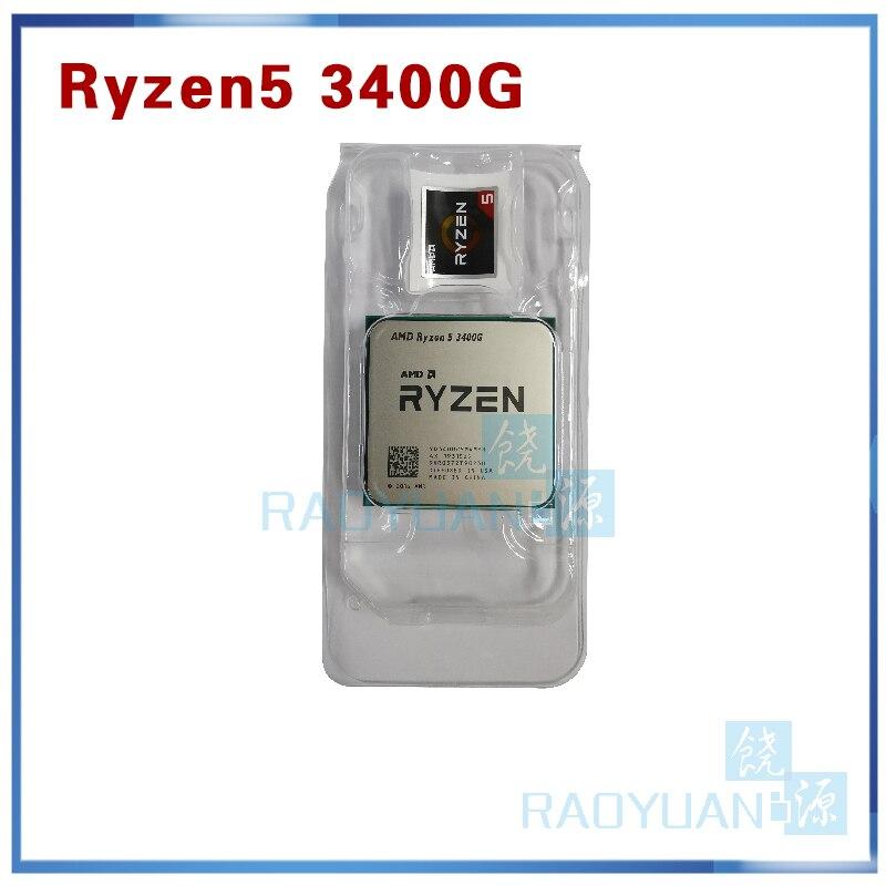 New AMD Ryzen 5 3400G R5 3400G 3.7 GHz Quad-Core Eight-Thread 65W CPU Processor YD3400C5M4MFH Socket AM4 Without Fan