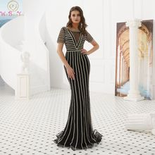 100% Real Pictures Black Mermaid Evening Dresses 2019 New Red Short Sleeves Crystal Illusion Vestido Long Formal Party Prom Gown