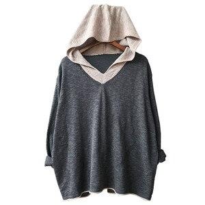 Image 3 - Johnature pull à capuche pour femmes, pull à manches longues, style Patchwork, tricot en coton, vêtement coréen, 7 couleurs, automne 2020