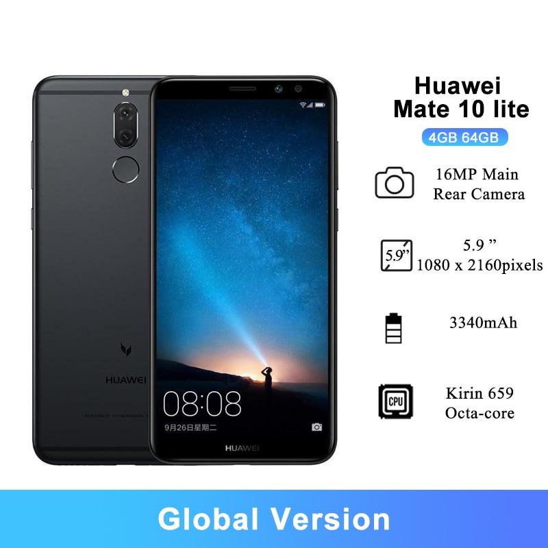 "Huawei Mate 10 Lite Android 7.0 Smartphones 5.9 ""16MP Achteruitrijcamera Kirin 659 Octa-Core 3340 Mah 4gb Ram 64Gbrom Mobiel"