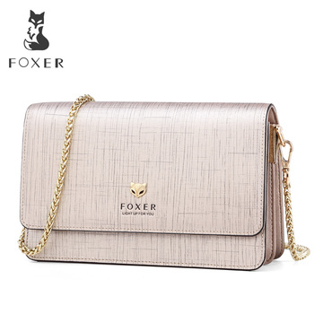 FOXER Brand Female Stylish Small Flap Shoulder Bag Women Bag Split Leather Chic Messenger Bags & Crossbody Bags Fashion Design
