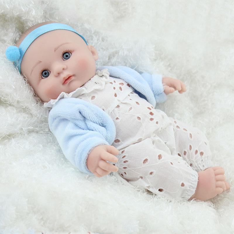 "Reborn dolls for baby toys 8"" 20cm mini silicone reborn baby dolls real newborn baby with blue clothes child bebe gift reborn"