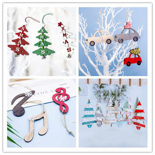 Christmas Ornaments Wooden Painted Note Car Tree Snowflake Christmas Decoration Pendant Christmas Tree Family Party Kids Gift