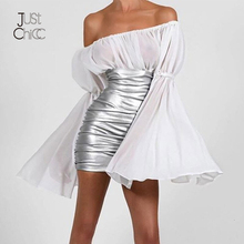 Justchicc Trắng Gợi Cảm Nữ Cổ V Sâu Dây Kéo Loe Tay Dài Thu Đông ĐẦM DỰ TIỆC Câu Lạc Bộ Vestidos De Festa Mini đầm 2020
