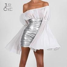 Justchicc Wit Sexy Vrouwen Jurk Diepe V hals Rits Flare Lange Mouwen Herfst Feestjurk Club Vestidos De Festa Mini jurk 2020