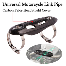 Universal Motorcycle Yoshimura Exhaust Likn Pipe Carbon Fiber Heat Shield Cover For GS KTM KLR ADV Dirt Bike Pitbike