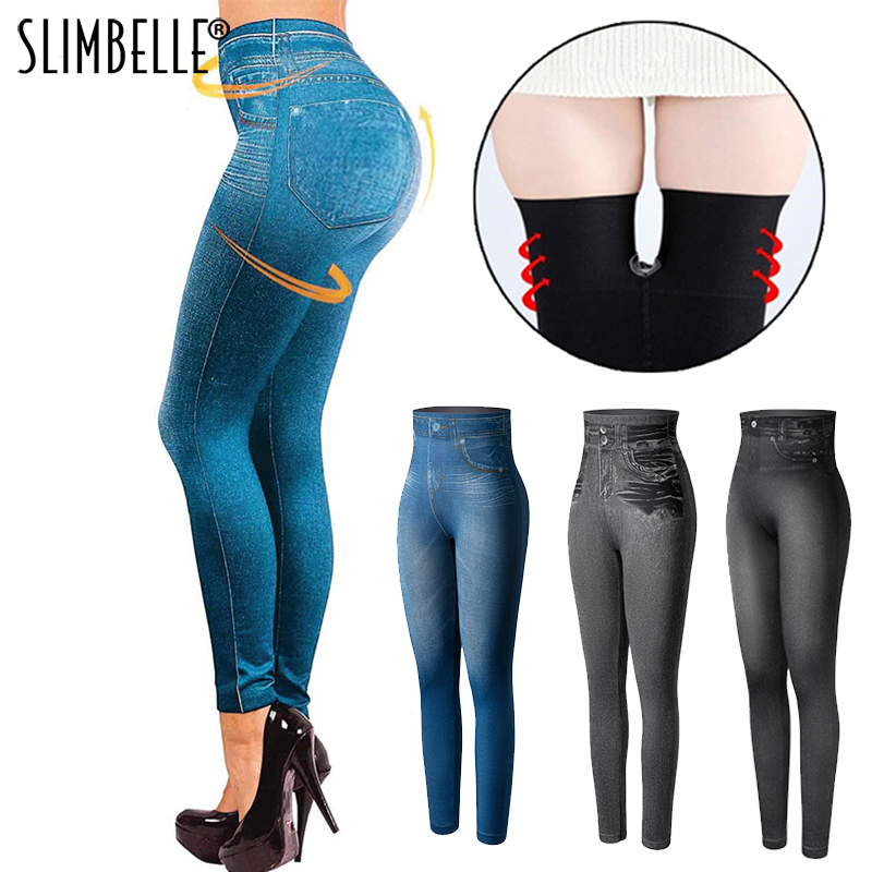 Faux Denim Women Leggings High Waist Fashion Slim Seamless Leggings Sexy Long Jeans Printing Fitness Legging Casual Pencil Pants