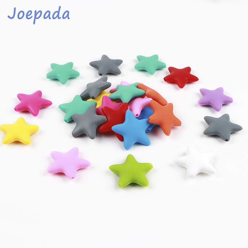 Joepada 1Pc Star Baby Teether Silicone Baby Teething Beads BPA Free Material For DIY Baby Teething Necklace Oral Care
