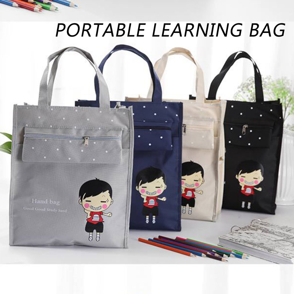 Korean Version The School Bag Students A4 Fabric Tote Learning Bag Students Remedial Bag Cartoon Review Bag