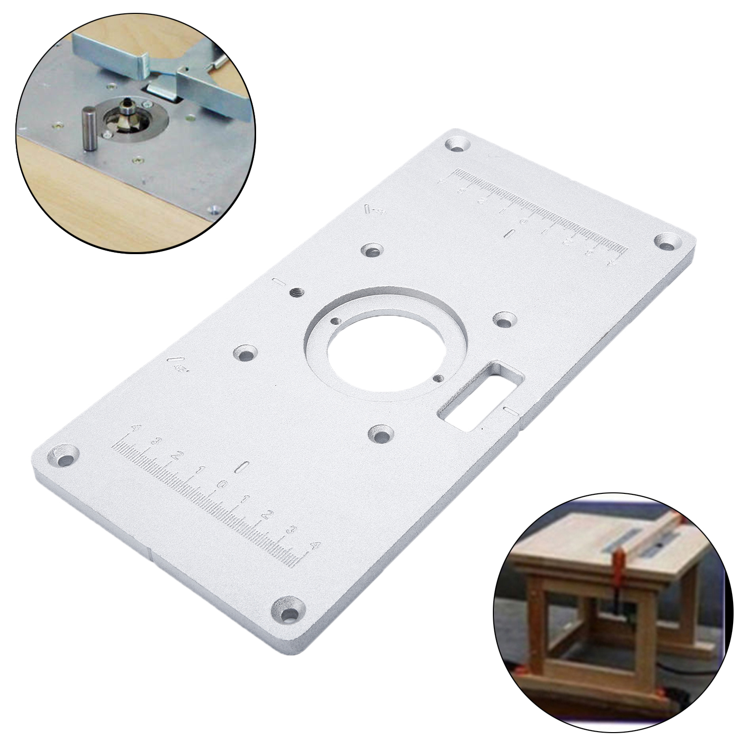 1PC Aluminum Router Table Insert Plate W/ 4Rings Screws 235mm X 120mm X 8mm Part