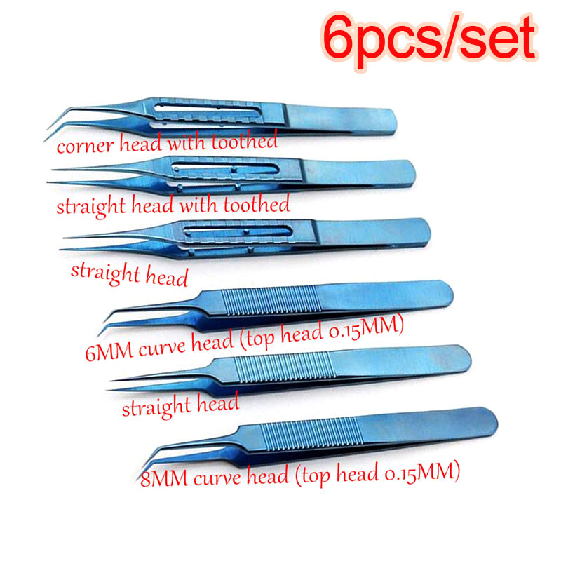 6pcs/set Microsurgical Instruments 11.5CM Hair Transplant Titanium Alloy High Quality Forceps Curved/platform/corner Head