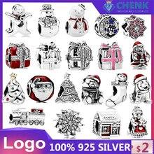 39 925 charme de plata esterlina serie de navidad charme boneco de neve casa piedra de bricolaje para momen fábrica china original encan