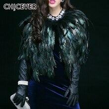 CHICEVER Chaleco con estampado de plumas para mujer, Rebeca de cuello redondo, chalecos con borla informales holgados de gran tamaño, moda Otoño Invierno 2020