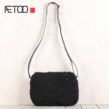 AETOO Fur one handmade single shoulder oblique cross bag casual leather mobile phone bag