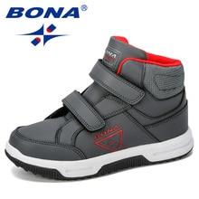 BONA-zapatos clásicos para niños, botas de nieve para niñas, de cuero sintético, zapatillas planas a la moda, para Otoño e Invierno
