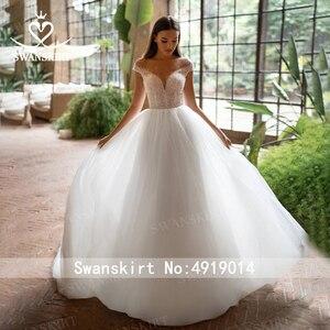Image 2 - Fairy Beaded Wedding Dress SWANSKIRT I227 Off Shoulder Crystal Belt A Line Illusion Tulle Princess Bridal Gown Vestido de novia
