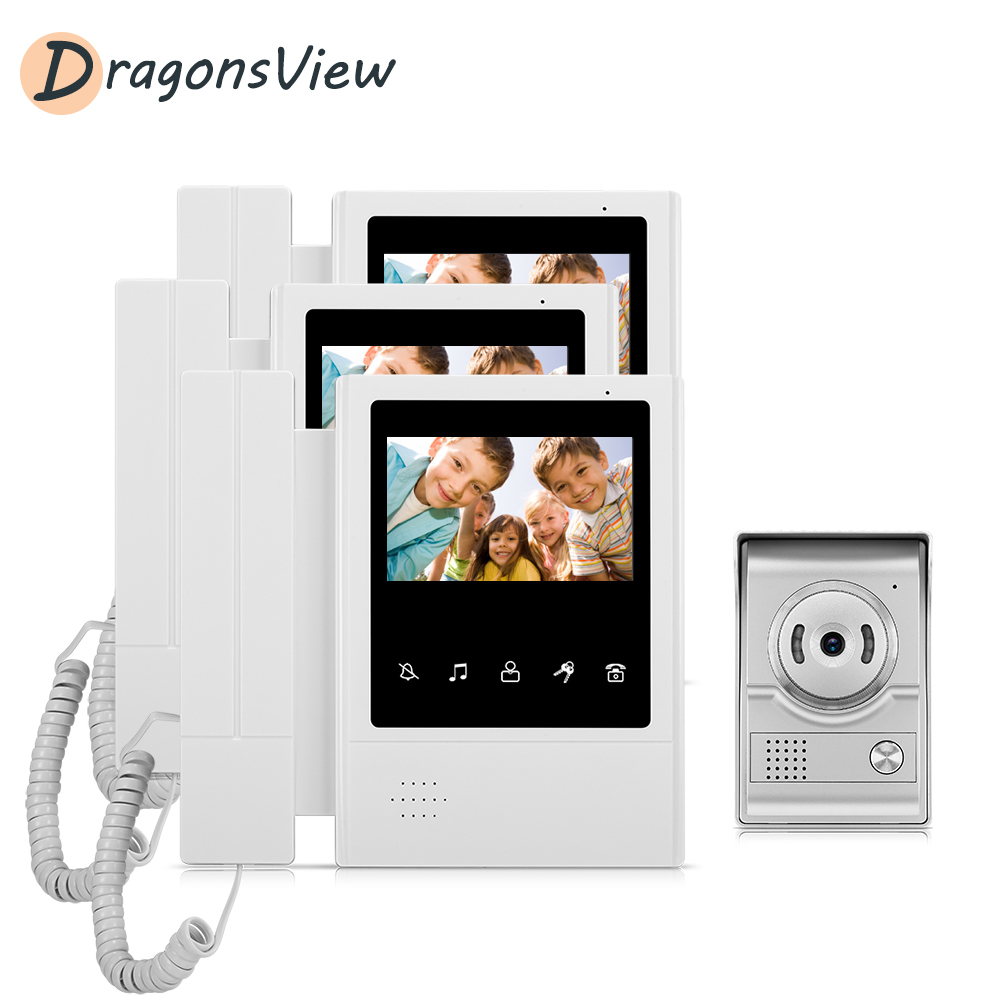 DragonsView Home Video Door Phone Intercom System 4.3 Inch Monitor 3 Pieces And 1 Outdoor Camera 1000TVL