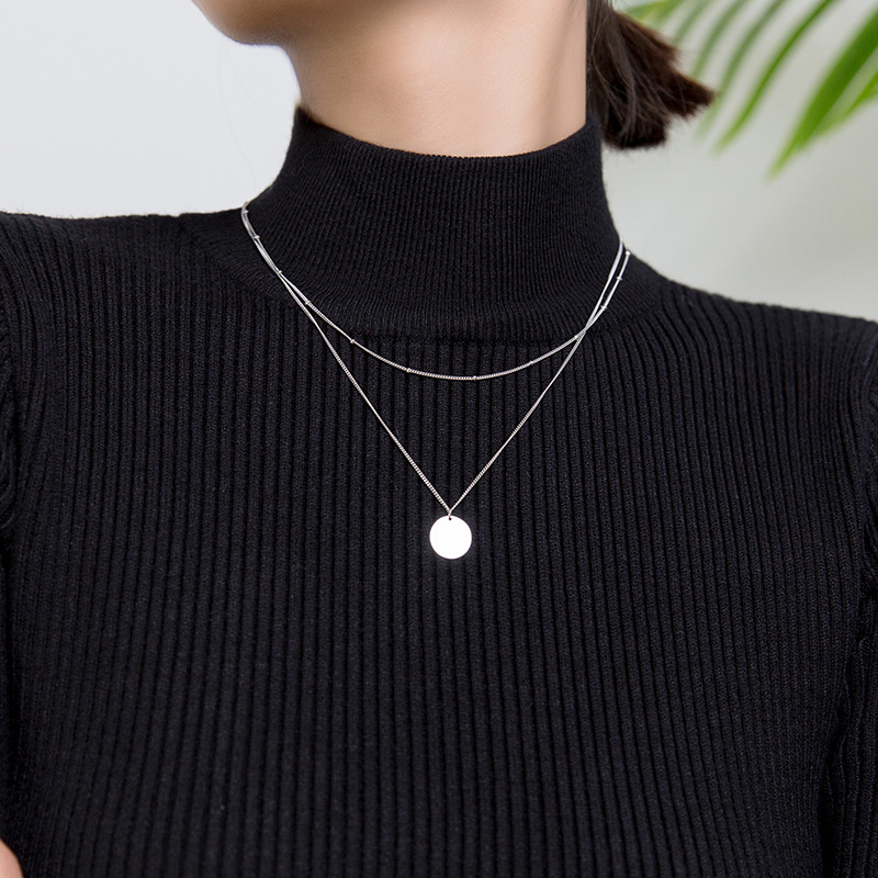 Modian минималистичное ожерелье с блестками и маленьким шариком для женщин, подарок, серебро 925 пробы, Двойная Цепочка, ожерелье, хорошее ювелирное изделие|Ожерелья|   | АлиЭкспресс