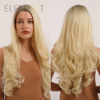 Element Long Side Part Brown Ombre Blonde Golden Synthetic Lace Front Cosplay Wigs Heat Resistant Natural Wave Lace Wigs wignee hand made front ombre color long blonde synthetic wigs for black white women heat resistant middle part cosplay hair wig