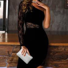 Элегантная Модная рабочая одежда для женщин, офисное женское платье, цельное платье на одно плечо, кружевное платье с разрезом, облегающее женское платье