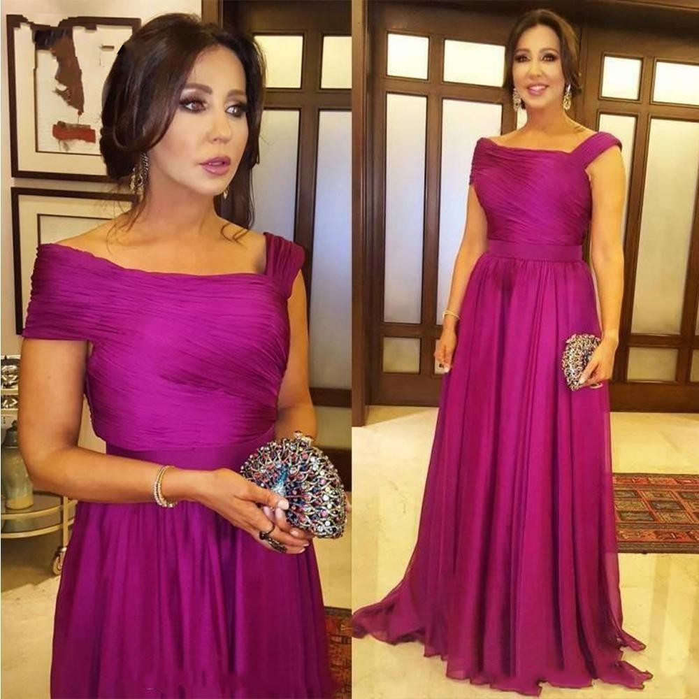 Fuchsia Elegant Mother Of The Bride Dresses For Wedding Party Reception Dress Ceremony Pleated Formal Women's Evening Gowns New