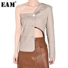Asymmetrical Short-Jacket Women Coat Spring Long-Sleeve Black Autumn EAM Tide Lapel Fit