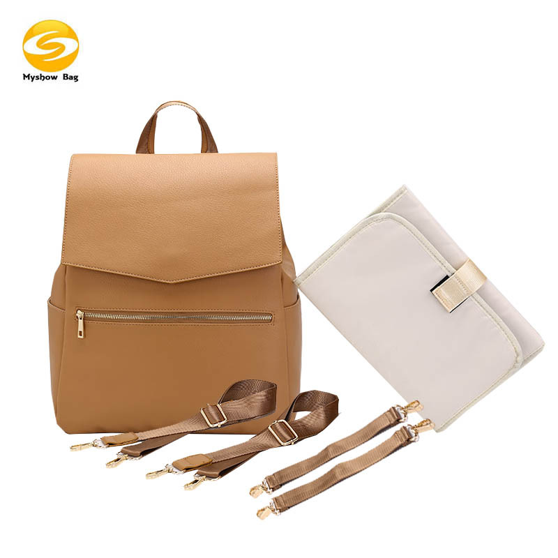 Lequeen Backpack  Mummy Bag Diaper Large Capacity Travel Nursing Bag  Nappy Bag For Baby Stroller  With Free Gift PU Leather
