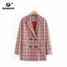 ROHOPO Double Buttons Plaid Pink Blazer Office Ladies Wide Striped Back Slit Hem Notched Outwear #9516 rolled hem drawstring plaid pants
