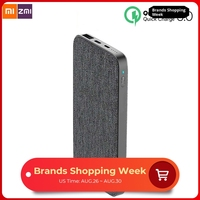New Xiaomi ZMI 10000mAh Power Bank Fashion Gray Cloth QC3.0 PD Type C PD Two Way Quick Charge 18W External Battery for iPhone