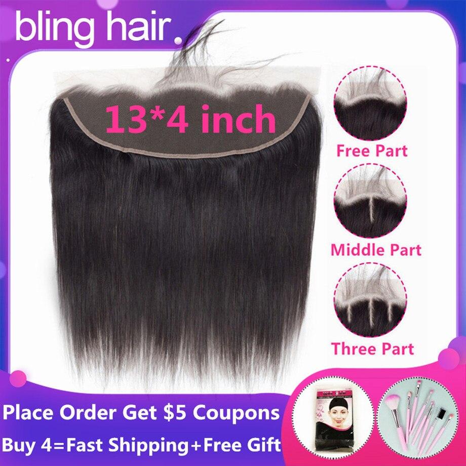 bling hair Perruque Lace Frontal Closure Cheveux péruviens Perruque Droite Cheveux Humains Moyen / Libre / Trois parties 100% Cheveux Remy couleur naturelle