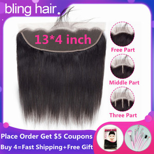 Bling Hair Peruvian Straight Human Hair Lace Frontal Closure 13x4 Middle/Free/Three Part Swiss Lace 100% Remy Natural Hairline(China)