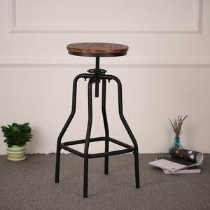 iKayaa industrial Chair Bar Stool Adjustable Swivel Bar Stool Natural Pinewood Top Metal Kitchen Dining Chair Bar Chair