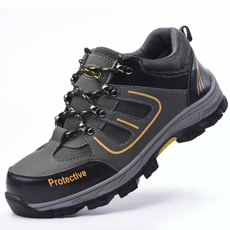 Men's Steel Toe Cap Anti-smashing Anti-piercing Protective Shoes Casual Wearable Hiking Sneakers Male Non-slip Running Shoes