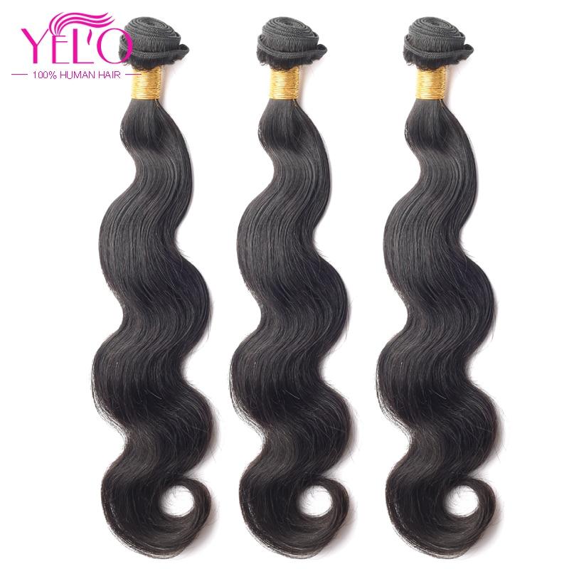 YELO Hair Products Brazilian Virgin Hair Body Wave 3pcs/Lot 100% Human Hair 8-30 Inch Brazilian Body Free Shipping