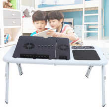 Adjustable Floding Laptop Table Stand Lap Tray Notebook Desk with USB Cooling Fans Stand Tray Laptop Table Tool