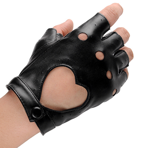 PU Leather Gloves Punk Hip-hop Half-finger Round Tactical Gloves Without Fingers Nail Glove 2