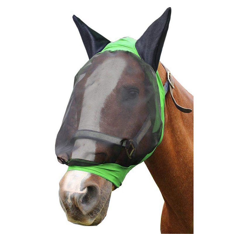 Comfort Soft Mesh Lycra Horse Fly Mask With Ears-Our Soft 4 Way Stretch Design Is Easy On Sensitive Ears&Eyes