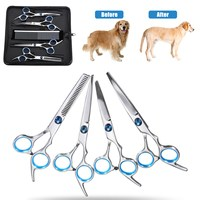New 7Pcs/Lot Pet Grooming Scissors Set Straight Curved Cutting Thinning Shears Pet Dog Cat Scissors Kits Puppy Hair Trimmer