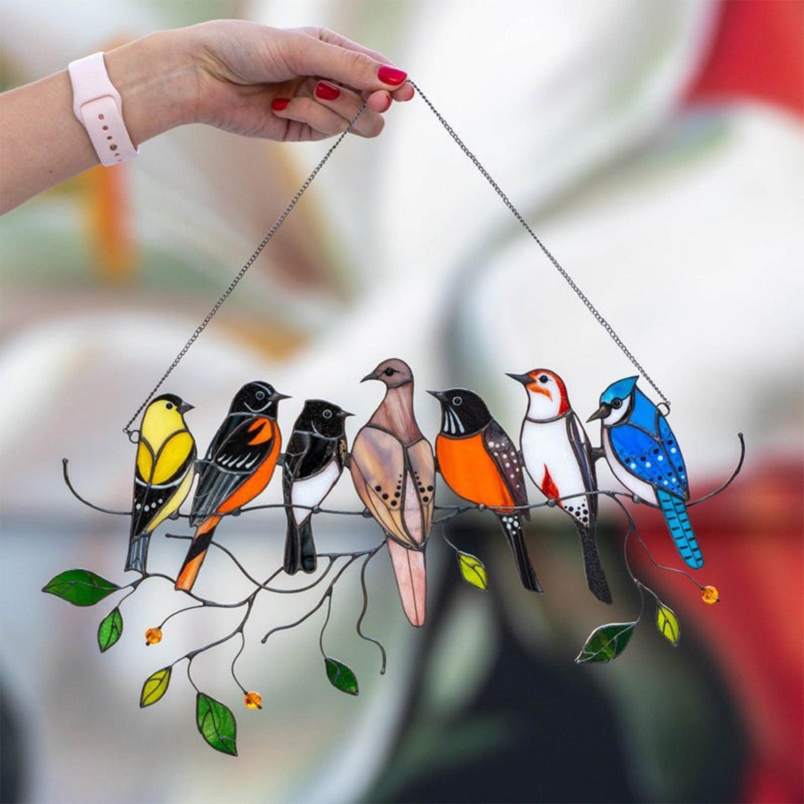 Multicolor Birds On A Wire High Stained Glass Suncatcher Window Panel Decoración De Habitación Декор Для Комнаты 15CM*25CM