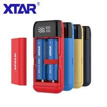 Xtar pb2s 18650 carregador de bateria powerbank preto vermelho azul lcd li ion carregador de bateria 18650 20700 21700 carregador de bateria power bank