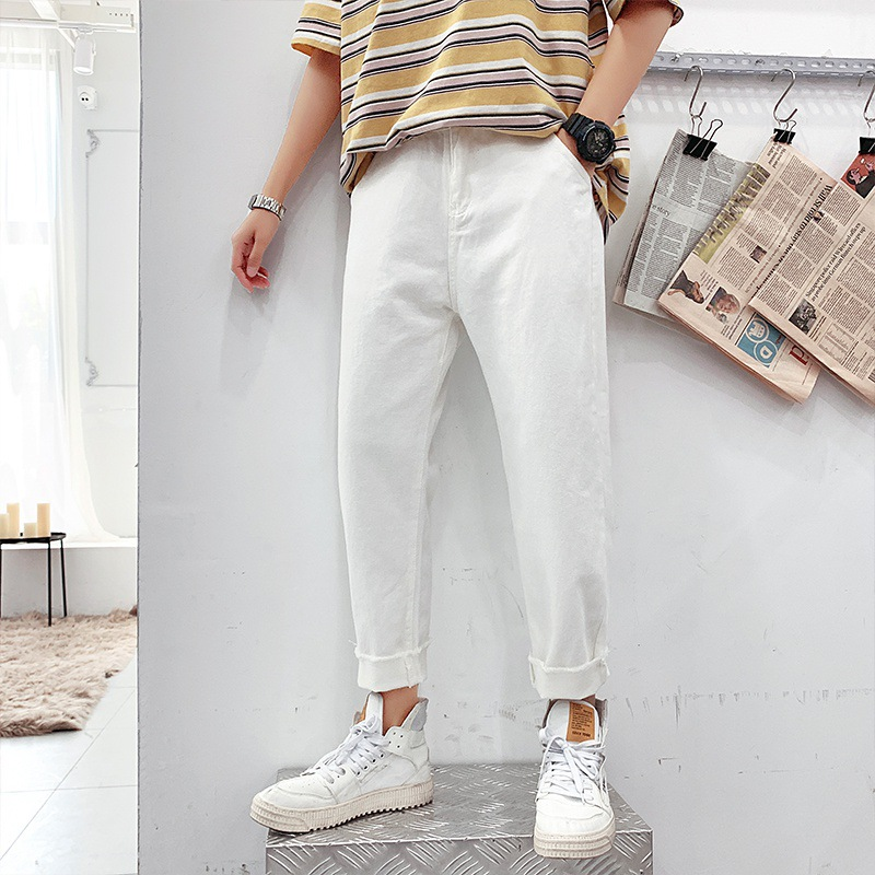 Summer Thin White National Trends Capri Jeans Men's Popular Brand Loose Straight Beggar Pants Korean-style Trend 9 Points