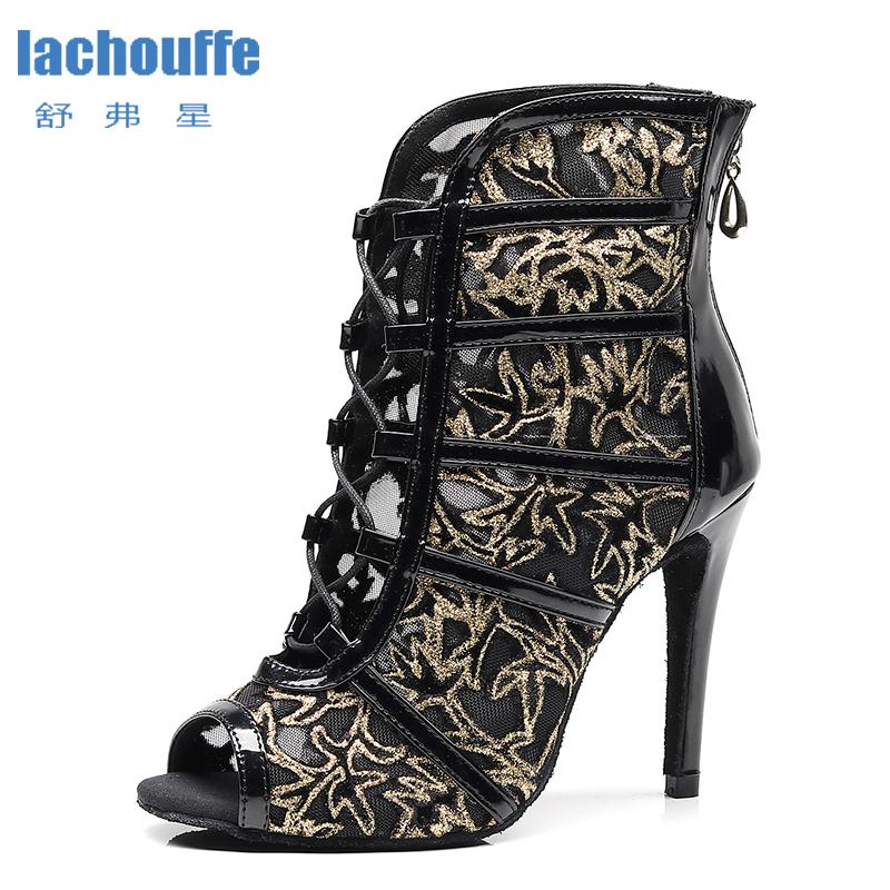Women Latin Dance Boots Black Mesh Tango Salsa Dancing Shoes for Woman High Heel Samba Latino Dance shoes Girls High Top Sandals