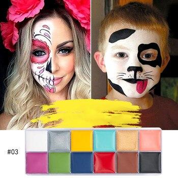 12 colores Festival cara pintura corporal juego payaso Halloween maquillaje cara pintura corporal maquillaje Flash cepillo de tatuaje 2020