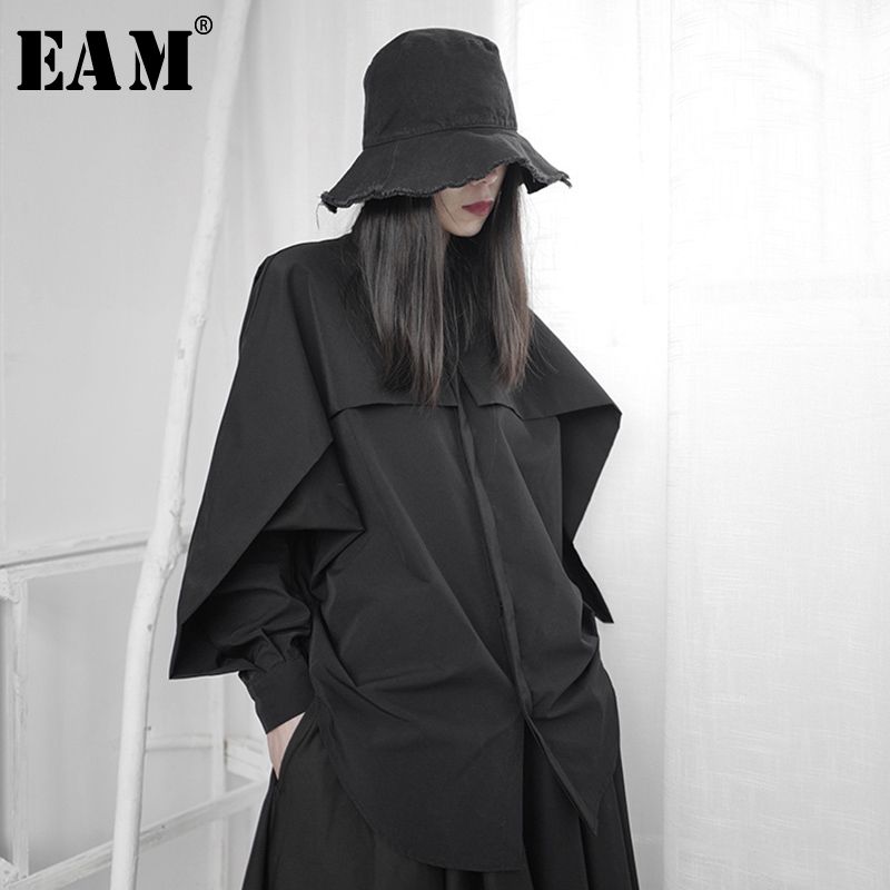 [EAM] Women Black Ruffles Stitch Big Size Blouse New Lapel Long Sleeve Loose Fit Shirt Fashion Tide Spring Autumn 2020 1S235