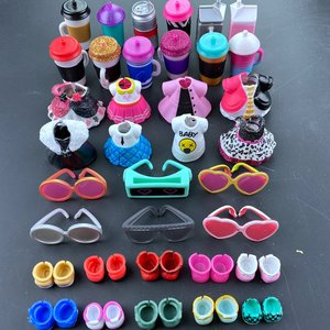 4pc/Set Original Clothes Shoes Bottles Accessories Dress Suit for LOL 8 cm Big Sister Dolls Kid Gift Toy(China)